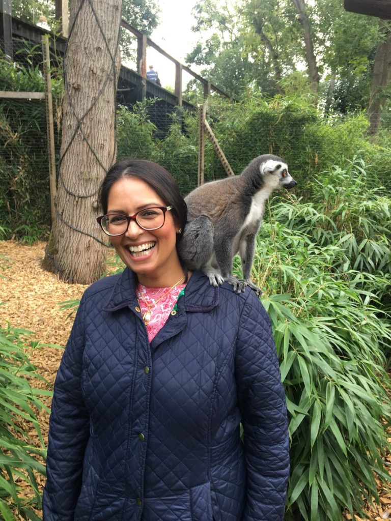 Priti Patel joins the team at Colchester Zoo