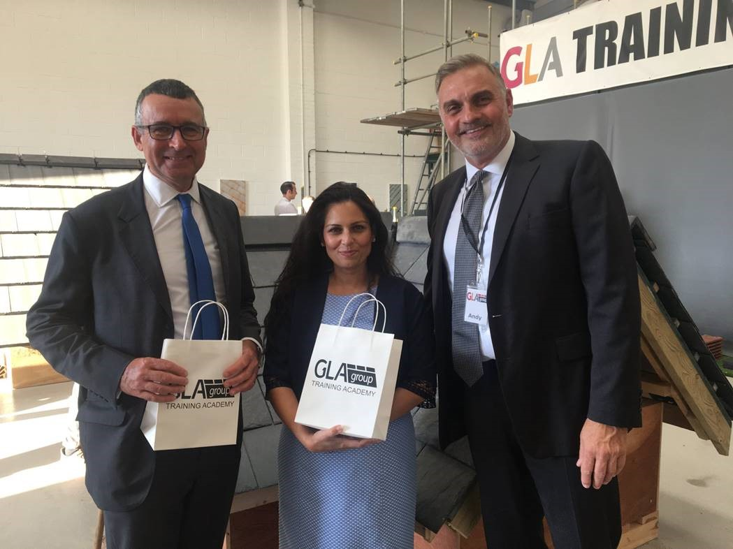 Priti Patel attends launch of new GLA Roofing Training Academy in Colchester