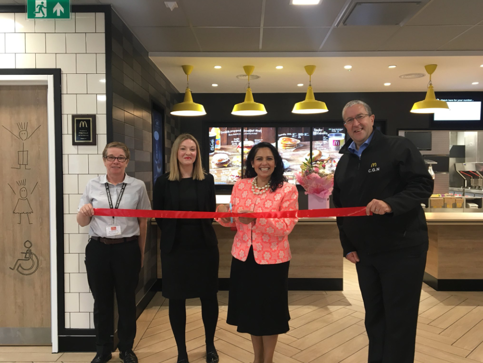 Backing local business: Priti opens the newly refurbished McDonald's in Tollgate