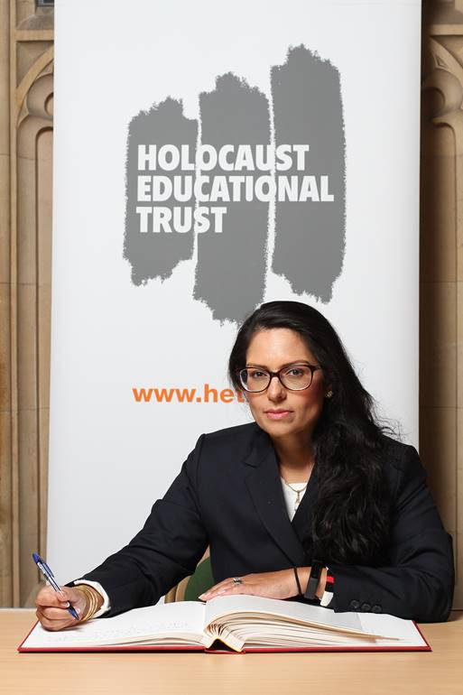 Priti Patel MP signs Holocaust Educational Trust Book of Commitment