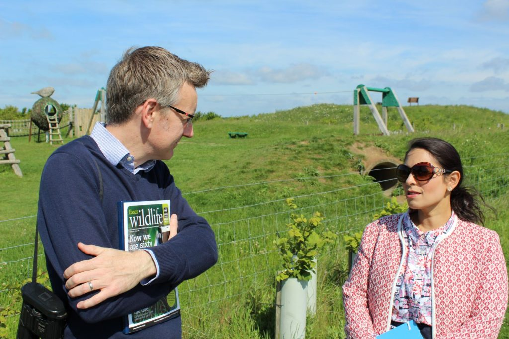 Priti Patel MP at Abberton Reservoir with Dr Andrew Impey, CEO of Essex Wildlife Trust at Abberton Reservoir.