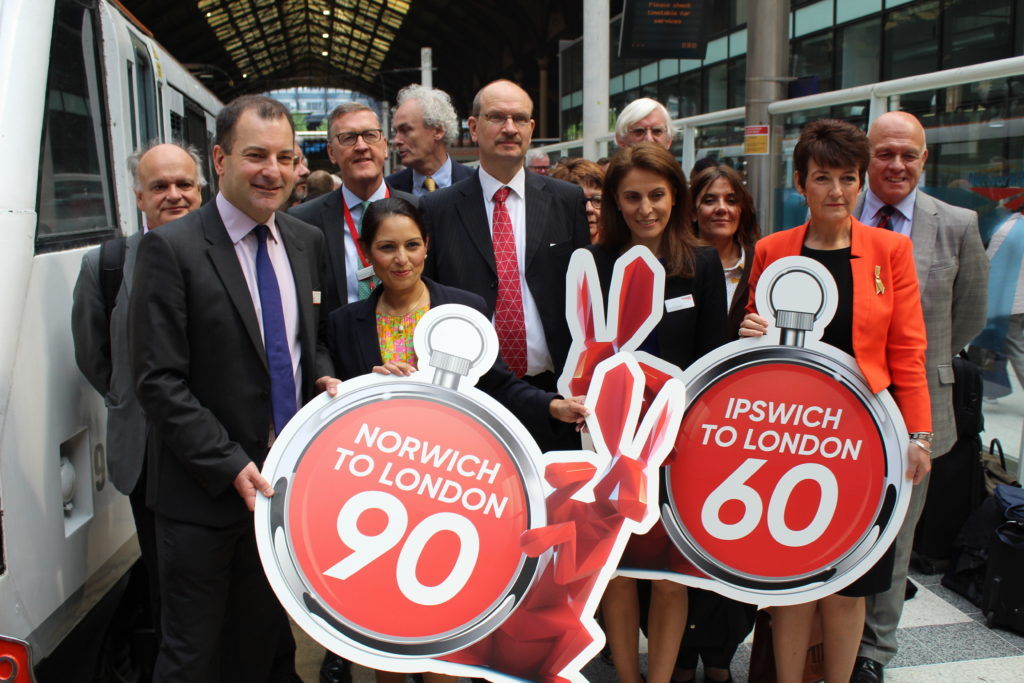 GEML Taskforce Chairman Priti Patel MP welcomes new fast train services from Norwich and Ipswich