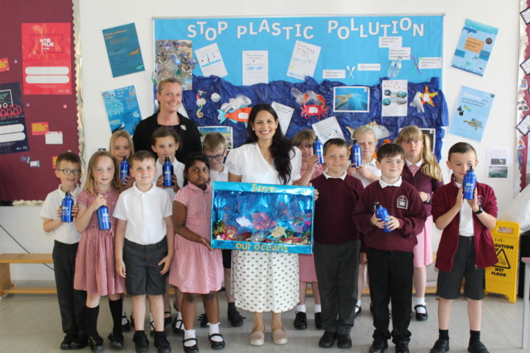 Priti Patel MP with pupils at the Silver End Academy
