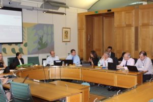 Group shot - The Rt Hon Priti Patel MP (seated far left) Chairs the latest GEML meeting at Westminster 24.06.19.