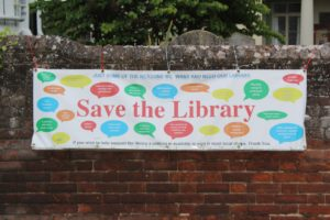 Save our library campaign banner