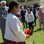 Priti Patel MP laying a wreath at the war memorial ceremony
