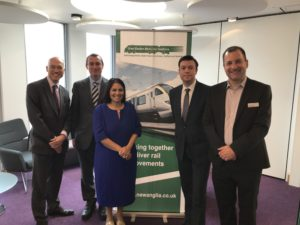 Priti Patel with members at the Great Eastern Mainline Taskforce Stakeholder Conference