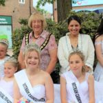 Witham Mayor, Cllr Clare Lager and Priti Patel MP at the Crowning of the Senior Queen of the Witham Carnival, Cailey Hackett and her court.