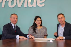 From left, Derrick Louis, Chairman of Provide, Witham MP, Priti Patel and John Niland, CEO of Provide during their meeting.