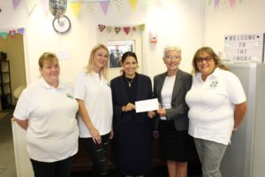 Priti Patel at the Community Hub in Witham as it receives a major donation and announces a new Hub facility is to open in Coggeshall