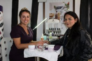 Priti Patel gets her nails checked out by Lianne Fincham, proprietor of The Salon, Coggeshall