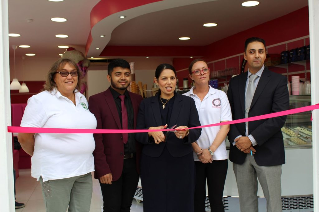 Priti Patel MP boosts small businesses in Witham and Coggeshall