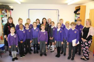 Priti Patel at the Soaring High Montessori Primary School, Coggeshall, with year 5 & 6 pupils and their teachers