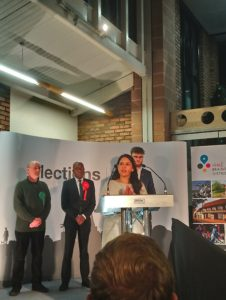 Priti Patel giving her acceptance speech on being elected to represent Witham for the fourth time