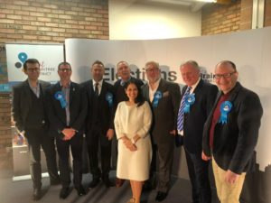 Priti Patel with part of her campaign team