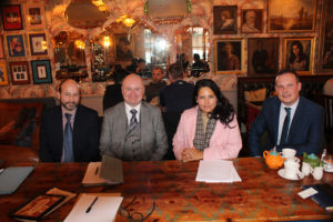 From left. Frank Saunders, Team Leader – Rivenhall Incinerator, Priti Patel MP, Simon Hawkins, the Environment Agency's Area Director for East Anglia and James Mason, Team Leader – Flood Alleviation scheme.