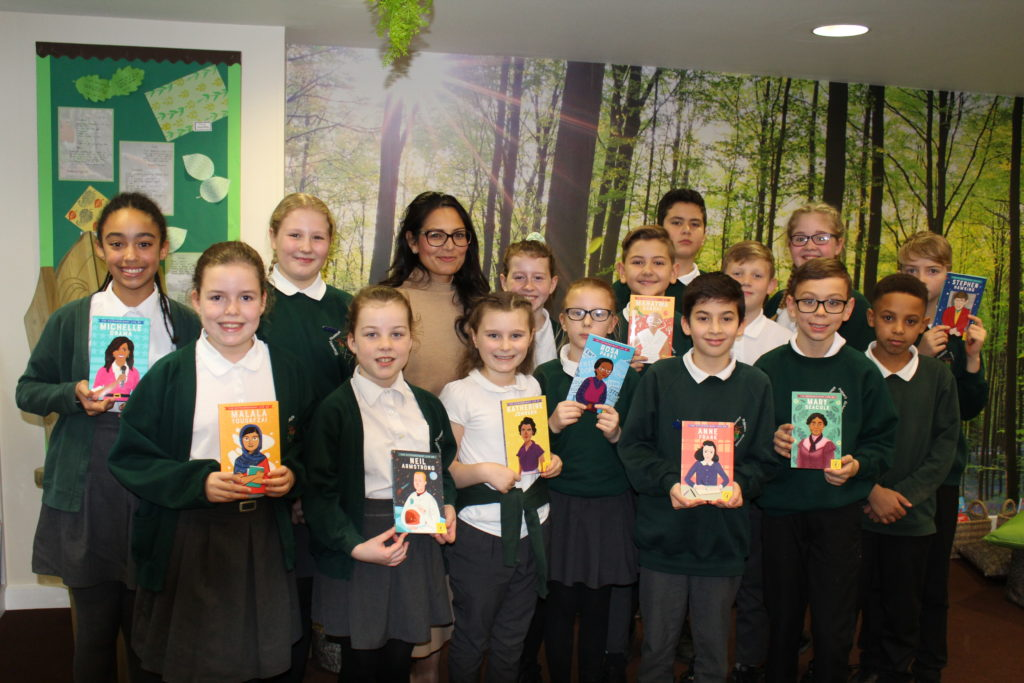 Priti visits Stanway Fiveways Primary School to discuss and promote literacy skills