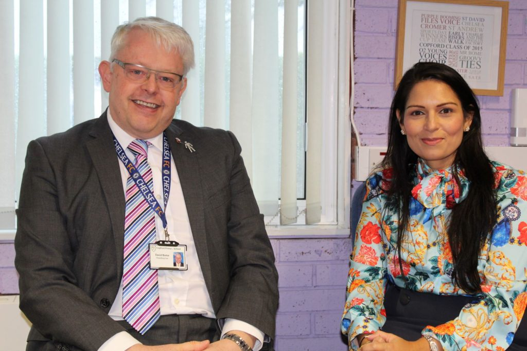 Priti Patel supports Copford Primary School's efforts to find funding for classroom upgrades