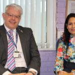 Priti Patel MP with Headteacher David Bome, during her visit to Copford Church of England Primary School.