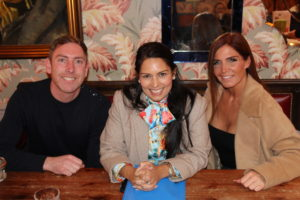 Priti Patel MP with Adam and Jo Gillespie during their meeting to discuss the planning appeal.
