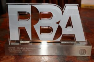 Rail Operator of the Year trophy from the Rail Business Awards, won by Greater Anglia