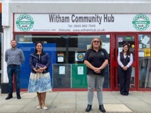 From left: Bradley Quirk from FareShare, Priti Patel MP with Tina Townsend from The Witham Hub & Witham Community Fridge.