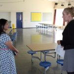 Priti Patel with Head of School, Victoria Gooding during her tour of Templars Academy