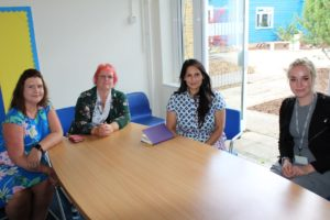 From left: Faye Welsher, Family Liaison Officer, Jane Bass, CEO of Connected Learning, Priti Patel MP and Victoria Gooding, Head of School.