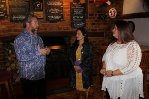 Priti Patel MP (centre) with Dave & Tracy Arnott, owners of the White Hart Hotel & Public House, Witham