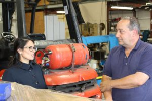 Priti Patel MP chats with MGJ Engineering's owner, Mick Johnson during her tour of the firm's workshops