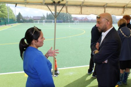 Priti Patel MP, chatting with Azeem Akhtar, Chair of Active Essex at the Summer Activity Club