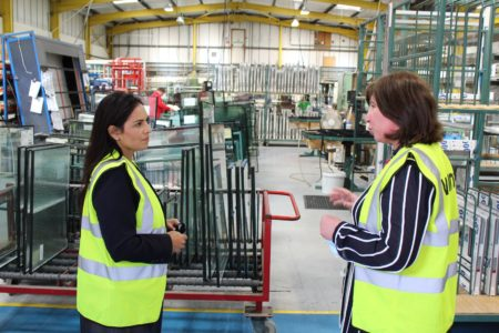 Priti Patel MP with Carol Slade, Managing Director of Masterframe Windows Ltd during her tour of their premises.
