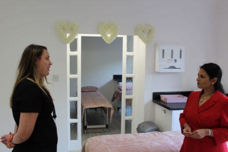 Priti Patel MP with Matrix MD Natalie Worster during her tour of the treatment rooms at the new Matrix Hair & Beauty Academy in New Road, Colchester.