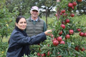 Priti Patel gets some tips on fruit picking from Ralph Hayter.