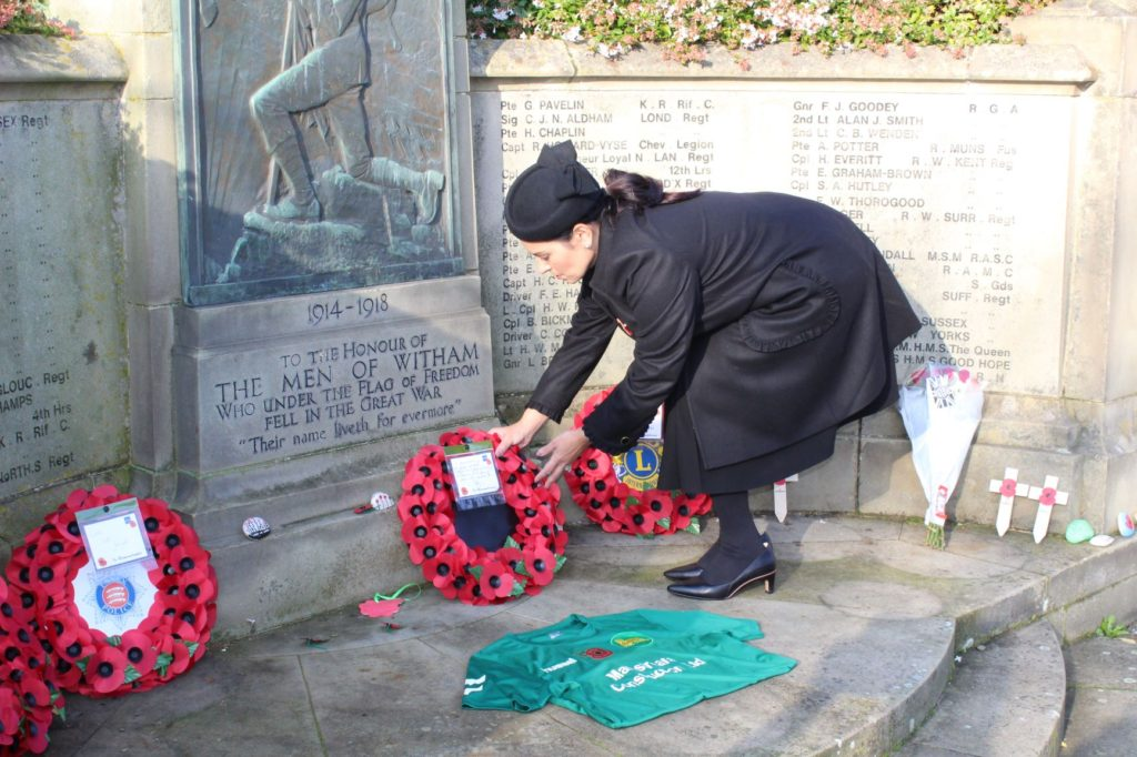 Witham MP lays wreath to the fallen at Town's War Memorial