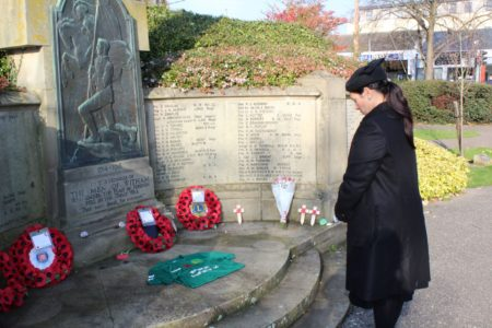 Priti Patel, the MP for Witham, laying a wreath at the War Memorial