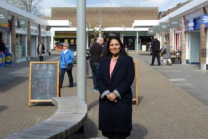 Priti Patel MP at the Newlands Shopping Centre, Witham (photo taken pre-Covid restrictions).