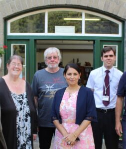 Witham MP Priti Patel with key members of the Museum of Power team during her visit in August 2019. From left, Debbie Thomas, Museum Manager, Dr Roger Griffin, Chairman of the Board of Trustees and James Gulleford, Assistant Museum Manager.