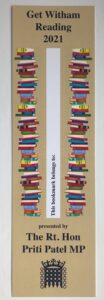 A photo of Priti Patel's Get Witham Reading 2021 bookmark, which will be presented to all pupils taking part