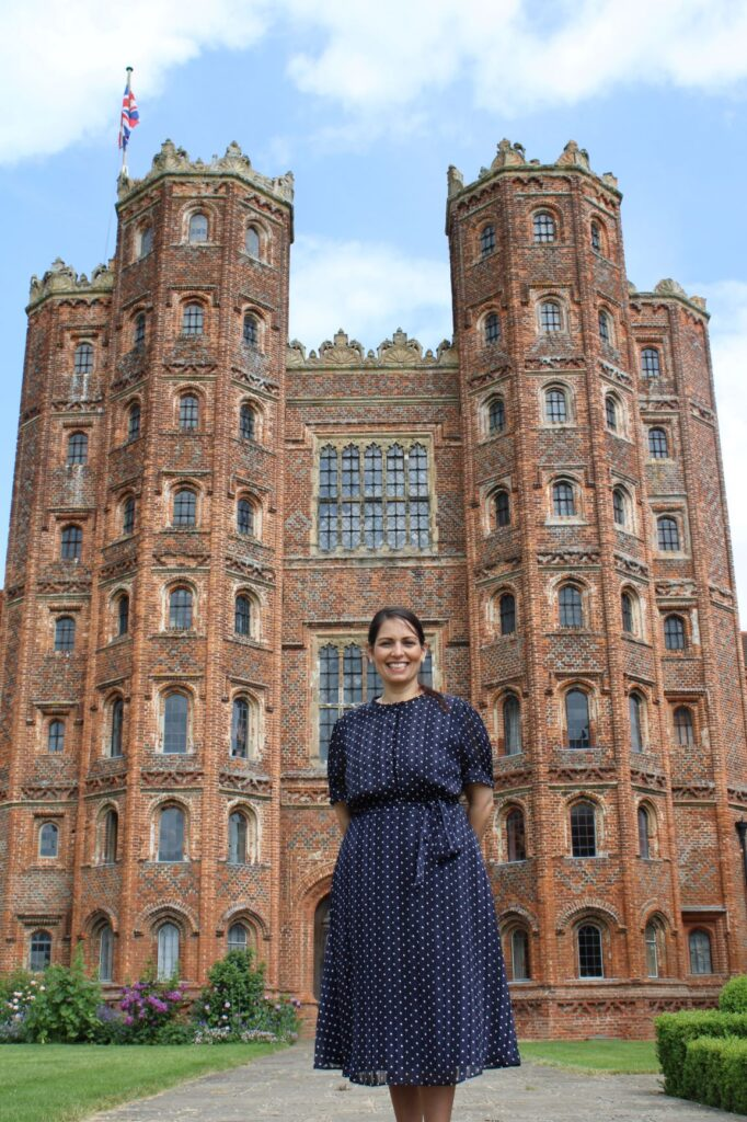 Priti visits iconic Layer Marney Tower to see Heritage Fund grants in action