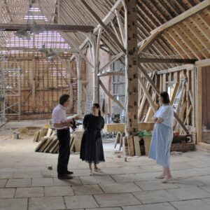 Priti Patel MP with Tower Trustees Nick & Sheila Charrington in the Essex Barn, where she saw the restoration work currently underway.