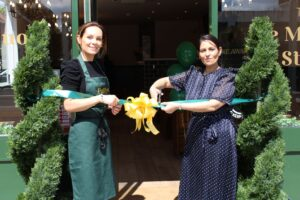 Priti Patel MP with Proprietor Lucy Nice at the ribbon cutting opening ceremony for Pollys Pie & Mash