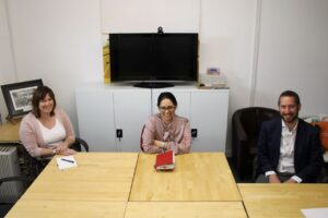 Witham MP, Priti Patel and Eastlight Community Homes CEO, Emma Palmer and James Green, Director of Community Housing, during their catch-up meeting on Saturday.