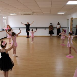 Young dancers go through their paces during Priti Patel's visit to Complete Dance Studio.