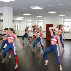 World cup team puts on a display for Priti Patel during her visit to Complete Dance Studio.