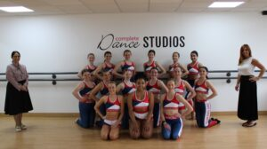 Priti Patel with the World Cup team and Complete Dance Principal, Jo Gillespie.