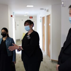 Priti Patel MP with Dr Andy Jones (CEO) and Amy Simpson (Hospital Director) during her tour of Oaks Hospital, Colchester.
