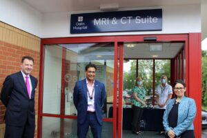 Priti Patel MP with Dr Andy Jones (left) and Professor Tan Arulampalam, Consultant General Surgeon and Oaks Hospital Clinical Governance Chair outside the MRI and CT suite at Oaks Hospital, Colchester.