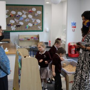 Priti Patel visits a classroom, with Head Teacher - Koulla Anslow, during her tour of the new Lakelands Primary School, Stanway.