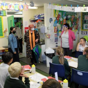 Priti Patel visits a classroom at Powers Hall Academy with Jane Bass, CEO of Connected Learning (centre).
